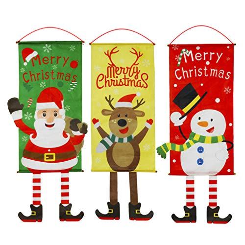 Toyvian 3 Piezas Banderas de Feliz Navidad Cartel Colgante de Navidad para la decoración del jardín del jardín