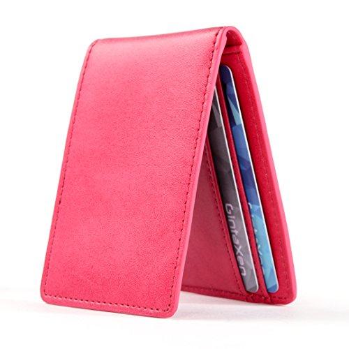Ultradünne Geldbörse in Mini-Größe mit ID-Fenster, Kartenfächer und RFID Blocker - Pink