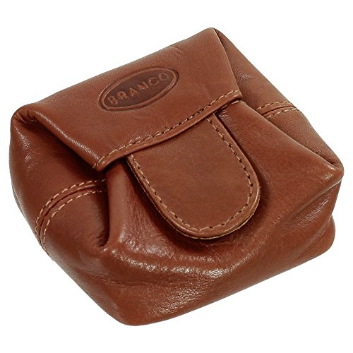 Branco Geldsäckchen Mini Geldbörse Münzbörse Minibörse Schütter Kleingeldbörse Geldbeutel Leder 6,5cm Farbe braun