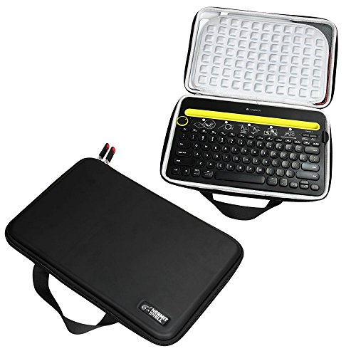 Hermitshell Travel EVA Tasche Schutz hülle Etui Tragetasche Beutel Compact Größen für Logitech K480 Bluetooth Multi-Device Keyboard iPad/Tablet/Samsung Galaxy Tab/Fire HD/Apple iPad Mini Air Pro/Microsoft Surface/Nexus/Nvidia/Neutab