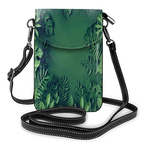 Cell Phone Purse Paper Tropical Leaves Monstera Crossbody Bag Women'S Lightweight Portable Small Wallet Waterproof Pu Leather Mini Shoulder Bag Easy Care Phone Wallet For Shopping Date Hiking