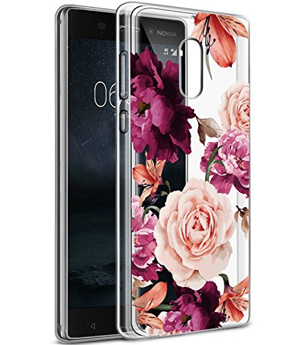 BAISRKE Nokia 6 Case, Nokia 6 Case with Flowers Slim Shockproof Clear Floral Pattern Soft Flexible TPU Back Cove for Nokia 6 (5.5') [Purple Pink]