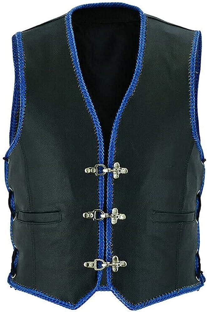 NM-Fashions Mens Outerwear Metal Clasps Black Leather Biker Style Vest