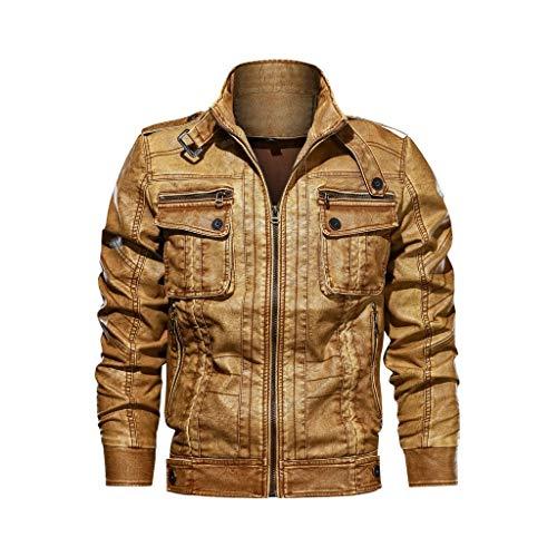 Masoness 🌟🌟 Herren Pullover Herren Herbst Winter Mode Vintage Zipper Pure Color Kunstleder Mantel,Retro alte Kragen Lederjacke einfarbig lose Jacke