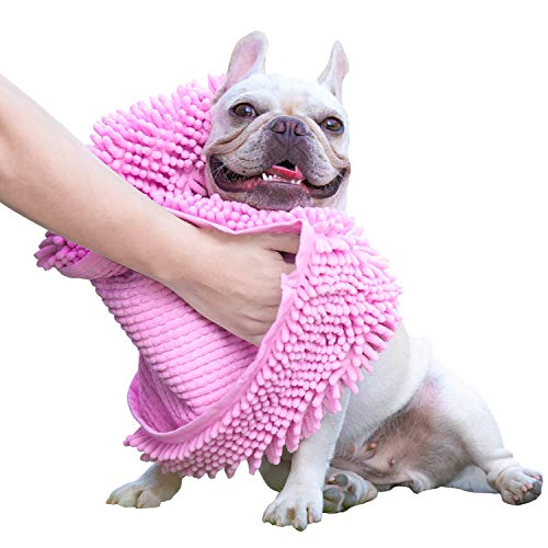 Toalla para perro GoChes, súper absorbente, de secado rápido, con bolsillos para las manos, toallas de baño de microfibra para mascotas para secar perros pequeños, medianos y grandes