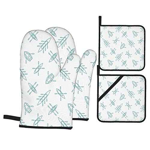 SXCVD Heat Resistant Oven Mitts and Pot Holders 4 Pcs Sets Rowing Boats Seamless Pattern Linear Kitchen Cooking Gloves for Microwave Baking Grilling BBQ