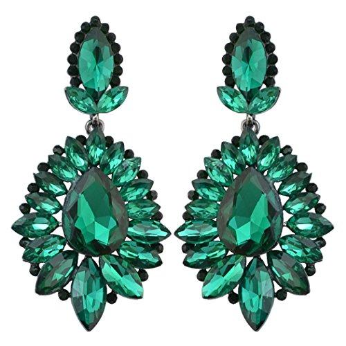 idealway 5 Colors Luxury Drop Earring Inlay Crystal Rhinestone Dangle Long Earrings For Women Jewelry (Green)
