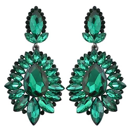 idealway 5 Colors Luxury Drop Earring Inlay Crystal Rhinestone Dangle Long Earrings For Women Jewelry (Green)