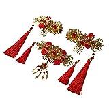 Robe Mariée Coiffures Chinois Ancien Costume Mariage Accessoires Couronne Ornements Bijoux Tete Princesse peigne à cheveux 2 épingles à cheveux 2 Étape secouer 1 paire de boucles d'oreilles