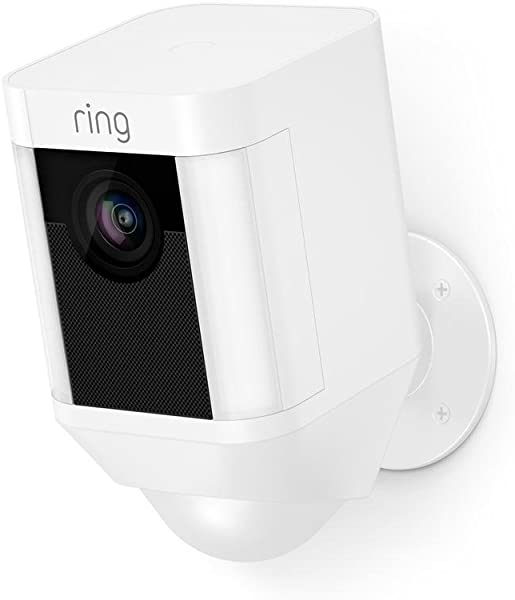 Ring Spotlight Cam Battery HD Security Camera With Built Two Way Talk And A Siren Alarm White Works With Alexa