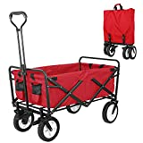 HEMBOR Collapsible Outdoor Utility Wagon, Heavy Duty Folding Garden Portable Hand Cart, with 8' Rubber Wheels and Brake Wheels, Adjustable Handles and Double Fabric, for Shopping,Picnic,Beach (RED)