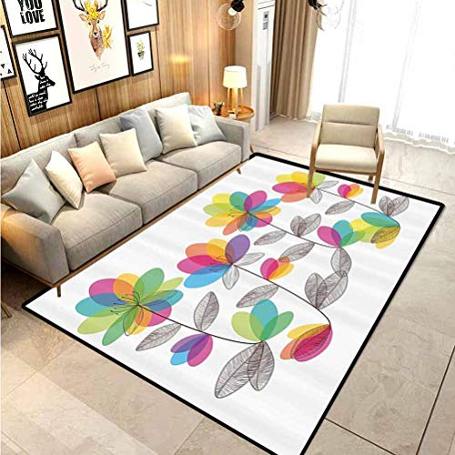 Floral Kids Area Rugs Camping Rugs Blooming Colorful Flowers and Leaves Romantic Flourishing Garden Design Artwork for Layered Door Mats Porch/Kitchen/Farmhouse Multicolor 4 x 5 Ft