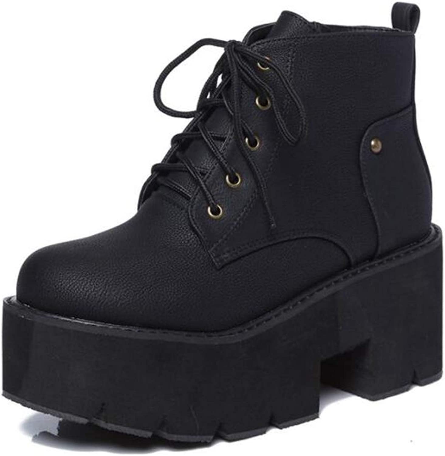 T-JULY Women's Brown Punk Boots Ladies Platform High Heel Winter shoes Lace up Motorcycle Waterproof Snow Ankle Boots