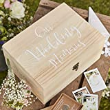Ginger Ray Natural Wood with White Text Wedding Rustikales Land, weiß