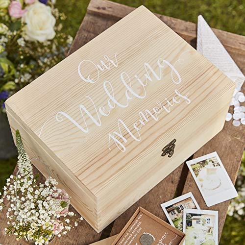 Ginger Ray Aufbewahrungsbox aus Naturholz mit weißem Text für Hochzeit, rustikales Landhausweiß