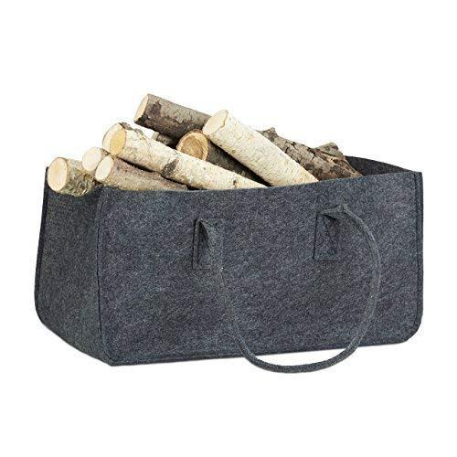 Relaxdays Kaminholztasche aus Filz, tragbarer Feuerholzkorb, faltbarer Zeitungshalter HxBxT: 25 x 25 x 50 cm, anthrazit