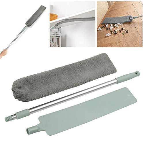 SIQDAK Cepillo Limpiador de Polvo de Mango Largo, Cepillo Pico para Eliminar el Polvo, Plumero de Microfibra para el hogar, RETR¨¢ctil a 43.5-59.3 Pulgadas con Cabeza Flexible