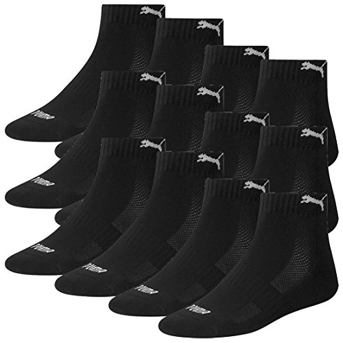 Puma 12 Paar Quarter Socken mit Frottee-Sohle Gr. 35-46 Unisex Cushioned Kurzsocken, Farbe:200 - black, Socken & Strümpfe:39-42