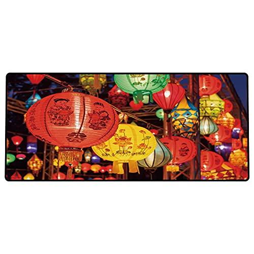 Alfombrilla de ratón para Juegos 600 x 300x3 mm,Linterna, Celebración Internacional del Año Nuevo Chino China Hong Kong Corea Cultura indígena, M Base de Goma Antideslizante, Adecuada para Jugadores