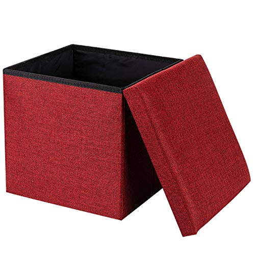 Linen Ottoman, Folding Storage Footrest Stool Space-Saving Footstool Shoe Bench with Removable Lid Storage Space 24L Great for Living Room Bedroom Kindergarten-30x30x30cm(12x12x12inch)-G