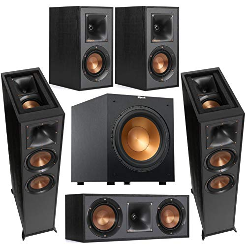"""Klipsch Reference 2X R-625FA Dolby Atmos Floor Standing Speaker Bundle with R-12SW 12"""" 400W Powered Subwoofer, R-52C Two-Way Center Channel, R-41M Bookshelf Speakers (Pair), Black"""