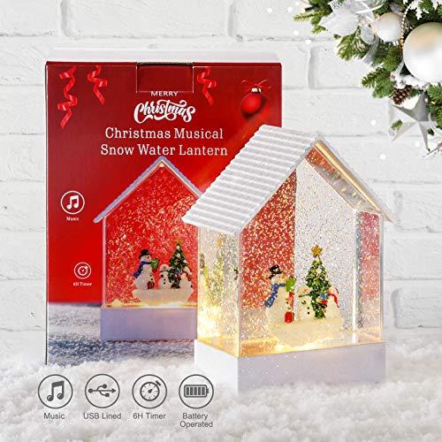 Elegear Weihnachtslaterne LED Wasserlaterne Weihnachten Spieluhr mit 6h Timer Schneelaterne Schneemann 3 Modus Wasserlaterne 2 Energieversorgung USB und Batteriebetrieben Innen Weihnachtsdeko