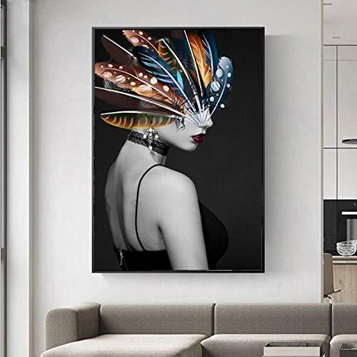 wZUN Surrealismo Arte Sexy Chica Pluma Lienzo Pintura Imagen de Sala de Estar Arte de Pared decoración de carácter nórdico 60x90 Sin Marco