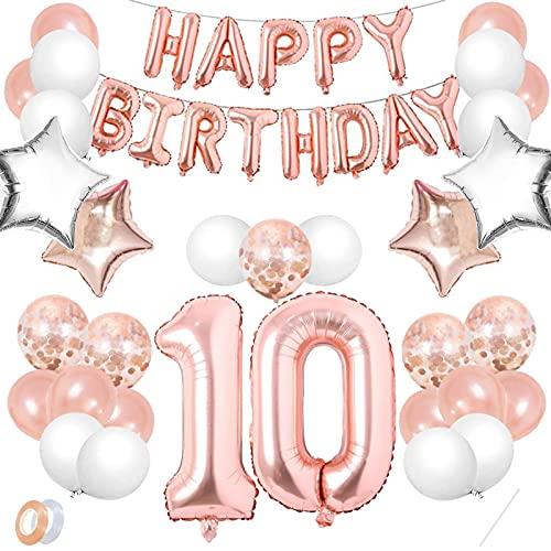 Luftballon 10. Geburtstag Rosegold,Geburtstagsdeko 10 Jahr Mädchen,Happy Birthday Dekoration Zahl,kunterbunte Luftballons Metallic,Nummerndekoration,Riesen Folienballon,Happy Birthday Dekoration