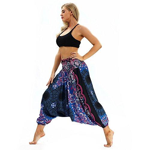 Adeliber Women's Yoga Pants Casual Loose Yoga Pants Summer Print Bohemian Aladdin Jumpsuit Harem Pants Purple