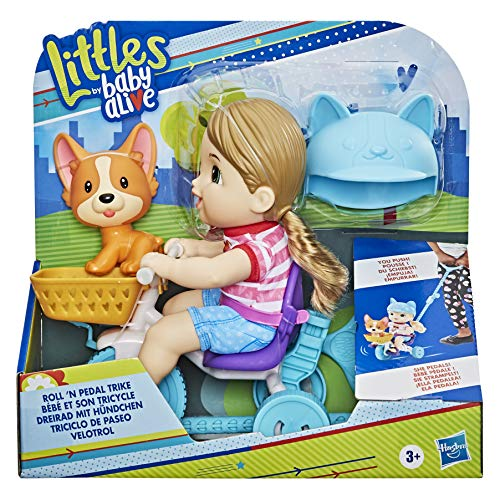 Baby Alive Littles, Roll 'n Pedal Trike, Doll Tricycle with Push-Stick, Little Jade Doll, Pet Accessory, Toy for Kids 3 Years Old and Up