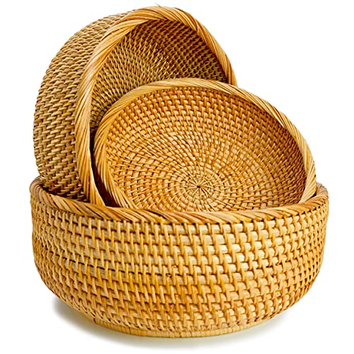 Wicker Bread Baskets For Fruit Vegetable Bowl Food Storage Organizing Kitchen Counter Desk Countertop Small To Large Natural Rattan Round Woven Basket Serving Bowls Chips Set of 3 (Honey Brown)
