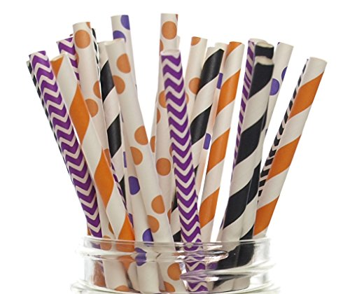 Halloween Straws (Halloween Orange, Black and Purple, 25)