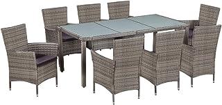 Tidyard Conjunto Muebles Jardín Exterior de Ratán Sintético y Vidrio con 1 Mesa, 8 Sillas y 8 Cojines de Asiento Gris