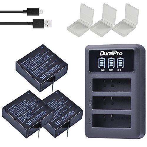 DuraPro 3pcs 1400mAh AZ16-1 Batterie + LED 3slots USB-Aufladeeinheit für Xiaomi YI Lite/YI 2 / 4Kplus / 4k + 360 VR/Xiao Yi 4K Tätigkeits-Kamera-Batterie