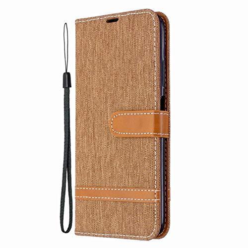 Funda para Samsung Galaxy M32 de piel con función atril y soporte magnético para tarjetas, funda protectora para Samsung Galaxy M32, color marrón