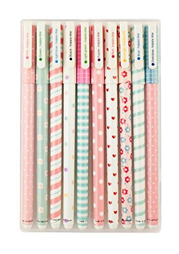 Emartbuy Pack Von 10 Glattes Schreiben Gelroller Fineliner Multi Farben, Gedruckte Designs, Bunte Gel Tinte, Feine Spitze, Box Verpackt - Set 3