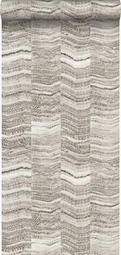 carta da parati striscia di zig zag chevron in pezzi di marmo stratificato grigio chiaro - 337246 - di Origin - luxury wallcoverings