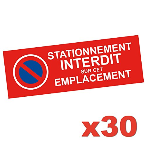 Oako Autocollant Stationnement Interdit - Lot de 30 Stickers - Permet De Signaliser Une Place De Stationnement Privée afin d'Eviter Voiture Mal Garée