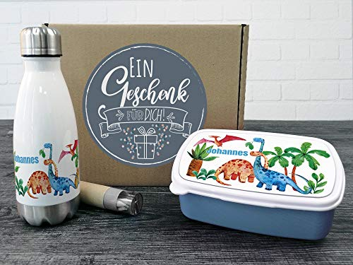 GRAZDesign Personalisierte Trinkflasche und Brotdose als Geschenkbox, für Jungen mit Namen Motiv Dinosaurier Welt