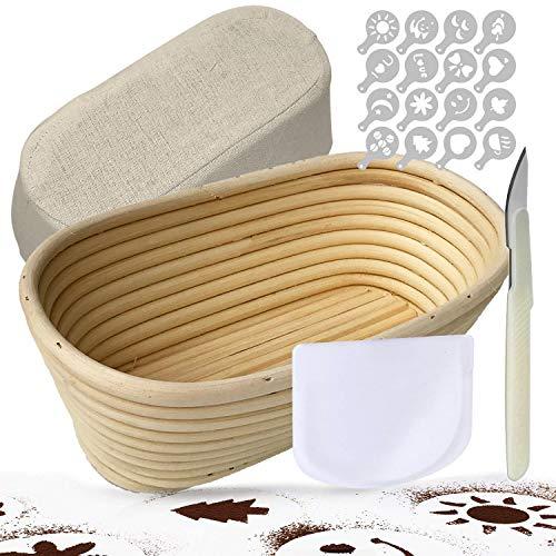 TGetWorth Gärkörbchen Oval ø 25 cm , inklusive Teigschneider Teigschaber, Leineneinsätze , Teigmesser,16 Stück Brot Dekor Schablonen für Home Baker & Brotherstellung
