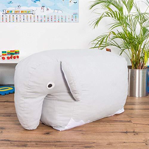 Smoothy Kindersitzsack Elefant - Tierform Sitzsack für Kinder - Kindermöbel XXL Stofftier aus Baumwolle - 6