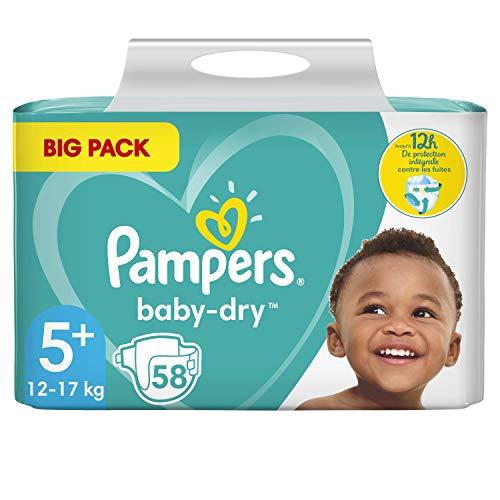 Pampers Baby-Dry - Pañales para bebé de tamaño 5+, 58 pañales, hasta 12 horas de protección completa, 12 – 17 kg, 2 paquetes (2 x 1.705 kg)
