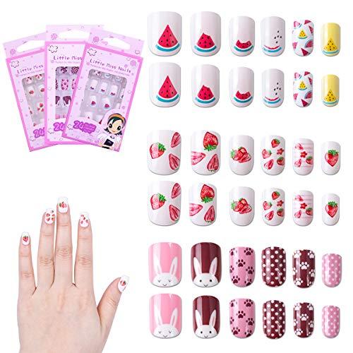 72 Stück Nägel Zum Aufkleben für Kinder, Selbstklebende Künstliche Falsche Fingernägel für Mädchen Teen