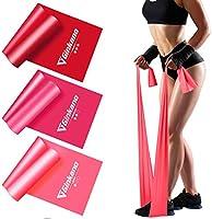 Haquno Bandas Elasticas Fitness[Set de 3] 1.5M /1.8M /2M,Cintas Elasticas con 3 Niveles de Resistencia, Pilates,...