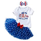 Fairy Baby Fourth of July Baby Girl Outfit - My 1st 4th of July Romper Skirt Set for Toddler Girls - American Flag Print Mesh Blue Star Tutu Clothes Outfits(Blue Star, 3-6M)