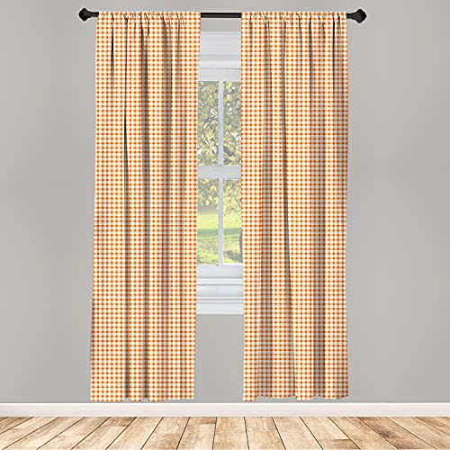 """Ambesonne Orange and White 2 Panel Curtain Set, Retro Gingham Style Checkered Squares Pattern in Warm Colors Plaid, Lightweight Window Treatment Living Room Bedroom Decor, 56"""" x 84"""", Orange White"""