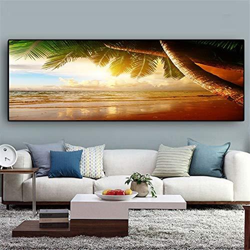 AMtxkj Sunset Seaside Sea Wave Paisaje Cocotero, Lienzo para Pintar Lienzo decoración de Pared Pintor decoración póster-50x150cm-No Frame