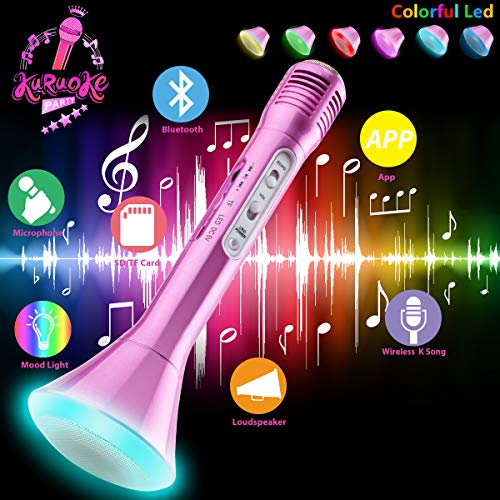 Microfono karaoke Wireless, Microfono bluetooth per Bambini, Portatile Karaoke Bluetooth Microfono Wireless Senza fili con Altoparlante per Cantare Ragazzi Ragazze Child Phone Andriod iOS PC (Rosa)