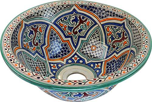 Kleine Fez/Alcazar Keramik-Waschbecken, handbemalt, marokkanisches Waschbecken, rund, innen nach außen lackiert, Durchmesser 30 cm, Höhe 14 cm