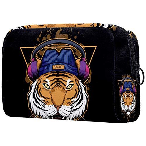 KAMEARI Bolsa de cosméticos Tiger para auriculares, bolsa de cosméticos grande, multifuncional, bolsa de viaje
